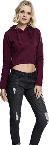 Felpa Ladies Hoody Interlock Short cherry 1151 Donna Urban Classics Rot qwIU5ZwXn