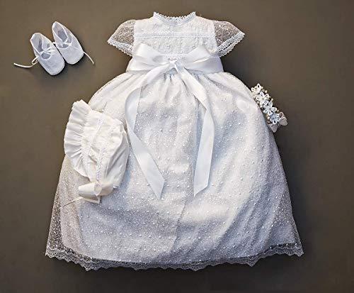 - Handmade Baby Girl Christening Gown Burbvus G005   Baptism Heirloom Set, Matching Shoes & Bonnet   Baptism Dress Unique