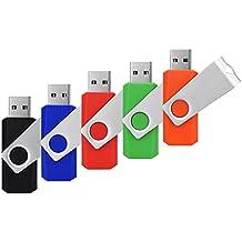 RAOYI 5PCS 8GB USB 2.0 Flash Drive Thumb Drive 8g Memory Stick Bulk Pen Drive Swivel Design(5 Mixed Colors:Black Blue Red Green Orange)