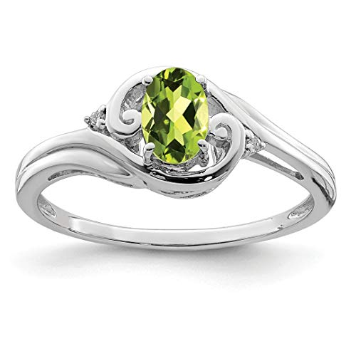 925 Sterling Silver Diamond Green Peridot Band Ring Size 9.00 Gemstone Fine Jewelry For Women Gift Set