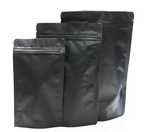 Assorted Sizes Matte Black Stand Up Airtight Zipper Pouches Smell Leak Proof Food Herb Coffee Protein Powder Storage Bags (15, 5 Small + 5 Med + 5 Large)