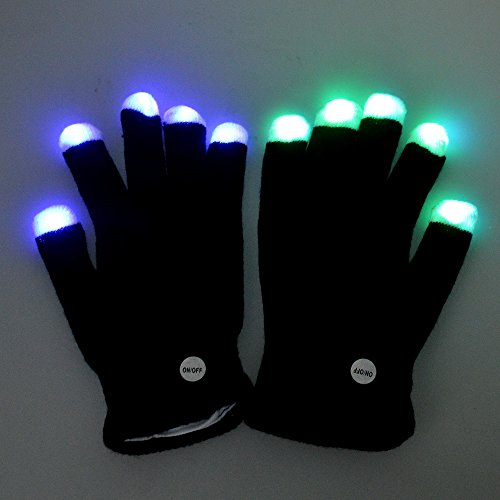 Flashmen Rave Gloves LED Finger Light up Gloves for Kids Adults,7 Mode Amazing Flash Lights Glove for Rave Party Light Show Concert - Best Halloween Christmas Gift