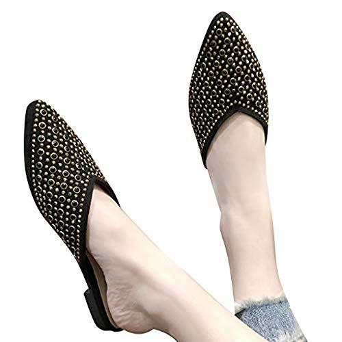 HIRIRI Rhinestone Wedge Sandals for Women Cool Slippers Casual Flat Sandals Summer Pointed-Toe Low Heel Women's Shoes Black
