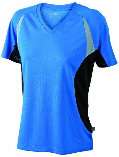 Camiseta transpirable cuello en de black con mujer V Royal para running rxFrZ6p