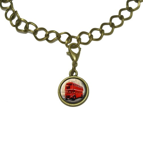 British Red Double Decker Bus Charm with Chain Bracelet