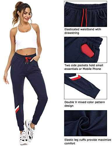Sykooria Womens Running Joggers Sweatpants Lounge Workout Lightweight Mixed-Color Legging Sweat Pants with Pockets