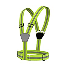Rightwell Reflective Safety Vest Hi Visibility Vest Elastic for Runners,Joggers,Walkers,Cyclists (Fluro Green)