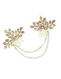 Fenteer Vintage Gold Crystal Leaves Hair Combs Chain Wedding Bridal Headpiece