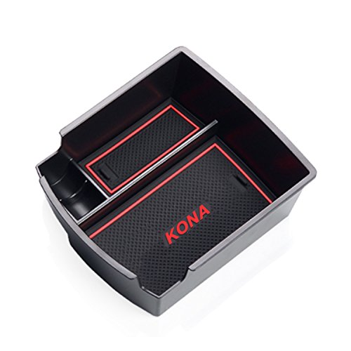 Customized For 2018 Hyundai Kona Car Center Console Armrest Box Glove Secondary Storage Console Organizer Insert Tray (Red) ()