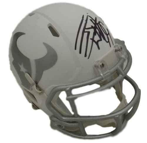 JJ Watt Autographed Houston Texans Riddell Ice Mini Helmet JSA