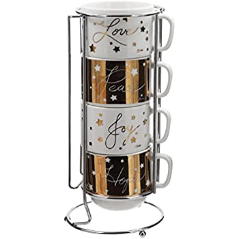 Amazon Com Nambe Bulbo Mug Stack Set Of 4 Coffee Cups