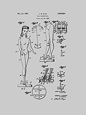 Framable Patent Art The Original Ready to Frame D/écor Barbie Doll Classic Retro Girls 8in by 10in Patent Art Poster Print Vintage Grey PAPXSSP57VG