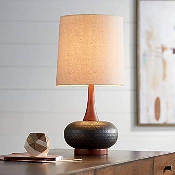 Mid Century Modern Table Lamp Teal Ceramic Gourd White