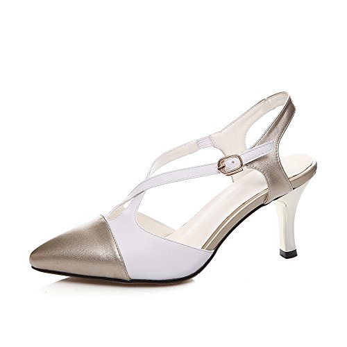 Sandals Gold Pointed Buckle Womens Heels AmoonyFashion Color Kitten Assorted Toe Leather Cow xSAKKCw6q