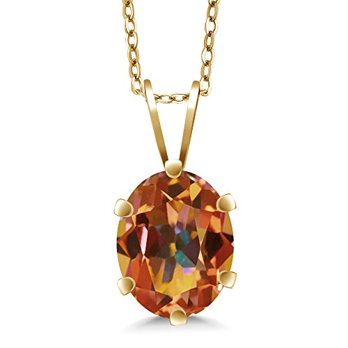 - Gem Stone King 1.60 Ct 8x6mm Oval Shape Ecstasy Mystic Topaz Yellow Gold Plated Silver Pendant