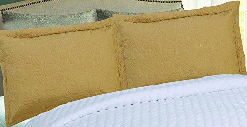 MarCielo 2-Piece Embroidered Pillow Shams, King Decorative Microfiber Pillow Shams Set, King Size (Gold Yellow)