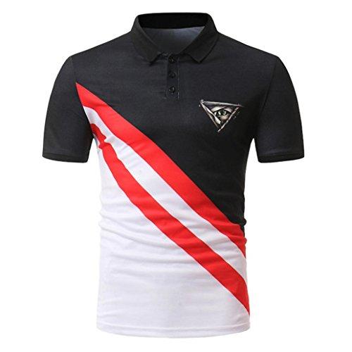 Buttons Design Short Sleeve Slim Fit T Shirt Golf Shirt Polo Shirts (Georgia Striped Hoody)