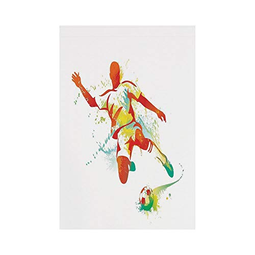 Polyester Garden Flag Outdoor Flag House Flag Banner,Sports Decor,Soccer Player Kicks The Ball Competitions Paint Splashes Speed Boots Art,for Wedding Anniversary Home Outdoor Garden Decor