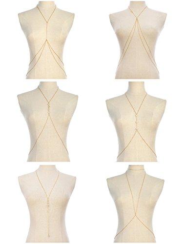 Tornito 6Pcs Sexy Body Chain Belly Waist Chain Necklace Summer Beach Crossover Bikini Bra Body Jewelry for Women Girls Gold Tone - Chain Detail Bikini