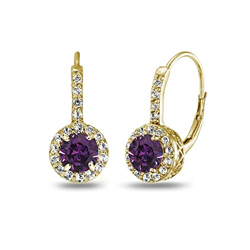 Yellow Gold Flashed Sterling Silver Purple Halo Leverback Drop Earrings created with Swarovski Crystals