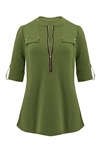 Sleeve Tab 3/4 (The Aliby Women Casual Shirt 3/4 Sleeve Zipper Front Blouse Tops)