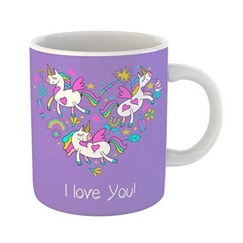 Heart Shape Clipart - Emvency 11 Ounces Coffee Mug Composition Happy Valentine Day Cute Magical Unicorns Flowers Cakes Magic Wand Stars Rainbow of Cliparts Has the Shape Heart Balloon White Ceramic Glossy Tea Cup gift