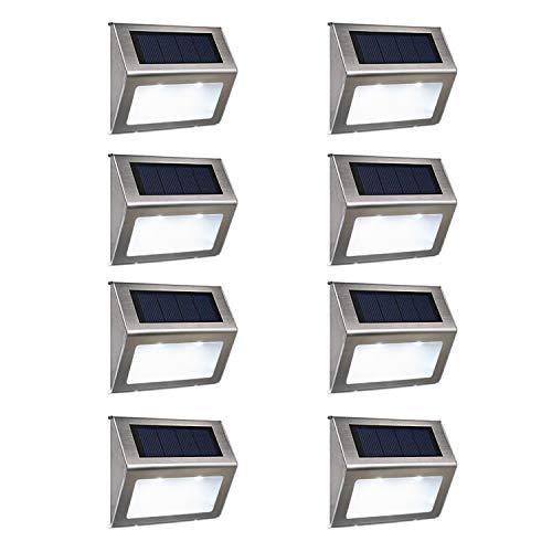 Asvert Solar Step Light Outdoor LED Solar Stair Lighting for Steps Deck Paths Patio 8 Pack