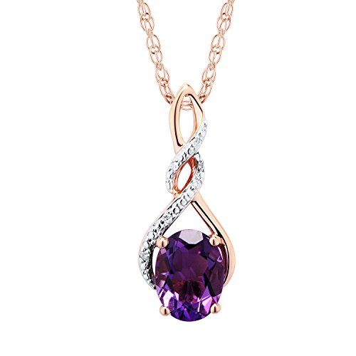 Amethyst Necklace with Diamond Accent in 10k Rose gold ()