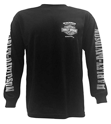Harley-Davidson Men's Skull Lightning Crest Graphic Long Sleeve - Black Harley Davidson Shirt