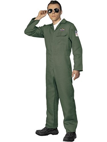 Smiffys Men's Aviator Costume with Zip Up Jumpsuit, Green, X-Large
