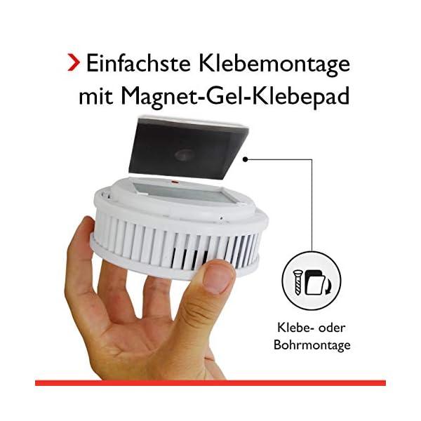 41bQ2gPOVcL Pyrexx PX-1 • 1 Stück • Rauchmelder 10 Jahre Batterie mit Magnet-Halterung ohne Bohren und LED-Blinken • Zertifiziert…