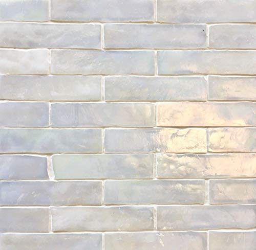 1x4 Tresor Collection (TM) Handcut Glass Mosaic, White Oyster Luster