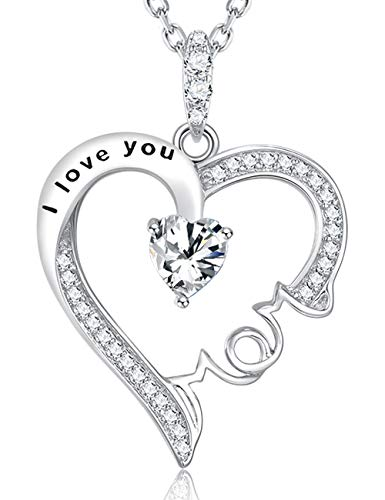 Christmas Necklace Gifts Women Mom Birthday Gifts Wife LC Simulated Diamond April Birthstone Necklace Anniversary Gifts for Her I Love You Mom Pendant Sterling Silver