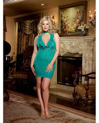 Ruffled Accent (Dream Girl 8500X Stretch lace halter chemise with ruffled lace neckline and sequin trim accent. Matching g-string and sequin choker necklace included. color:EMERALD size:O/S QUEEN)