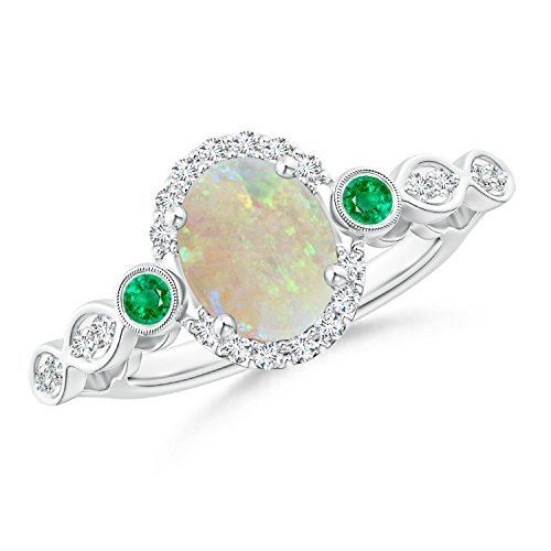 Vintage Oval Opal and Diamond Halo Ring with Bezel Set Emerald in 14K White Gold (9mm (Gold Opal Emerald Ring)
