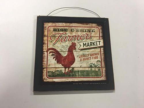 The Little Store Of Home Decor Rise and Shine Farmers Market Rooster Country Kitchen Wooden Wall Art Sign Farm Decor price tips cheap