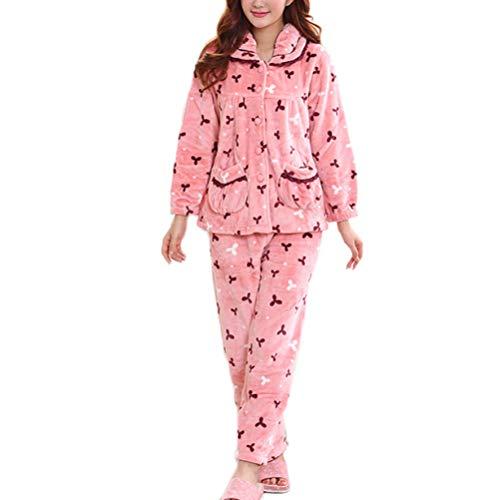 Top Pink Notte Pigiama Caldo Pigiama Da Invernale Donna Notte Morbido E Da Da Comodo Pigiama Stampato Morbido Pigiama Pantaloni vwUxqF88T