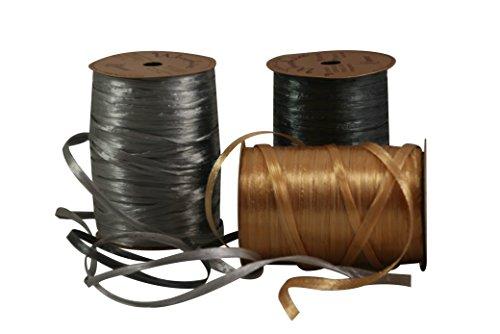 Raffia Gift Wrap Ribbon Bundle (Pearlized lt & dk Silver/Gold)