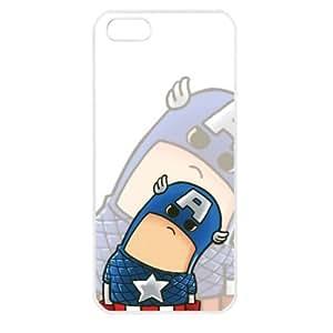 Popular Cute Cartoon Captain America Apple iPhone 5 TPU Soft Black or White case (White)