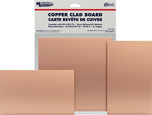 "MG Chemicals Copper Clad Board, Single Sided, 5"" x 3"", 1 oz Copper, 1/16"" Thick, FR4"