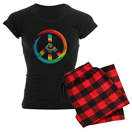 (Royal Lion Women's Dark Pajamas Tye Dye Peace Symbol - Red Plaid, Small)