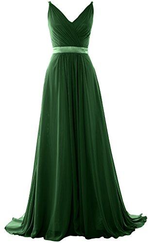 MACloth Dress Evening Gown Bridesmaid Formal Women V Dunkelgrun Long Neck Mid Back Open rq4rwv8gZ