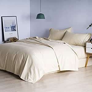MELODY HOUSE 100% Egyptian Cotton Sheet Set, Genuine 800 Thread Count 4 Piece Luxury Bedding Set, Beige Queen Sheets, Deep Pocket