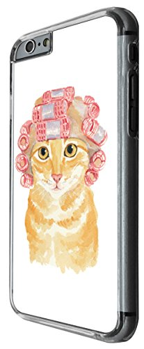 937 - Cool cute fun cat kitten felibe pet love curlers funny illustration art ginger cat Design For iphone 5C Fashion Trend CASE Back COVER Plastic&Thin Metal -Clear