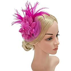 Z&X Ladies Girls Flower Feather Headband Hair Clip Mesh Fascinator Hat for Wedding Fuchsia