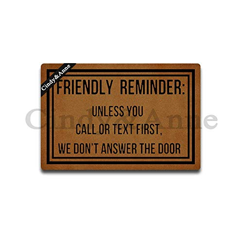 Tdou Friendly Reminder Unless You Call Or Text First We Dont Answer The Door Doormat Entrance Floor Mat Funny Doormat Door Mat Decorative Indoor Outdoor Doormat 23.6 by 15.7 Inch]()