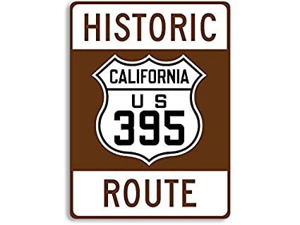 American Vinyl Historic Route California 395 Brown Sign Sticker (Decal  Travel rv Road us Highway)