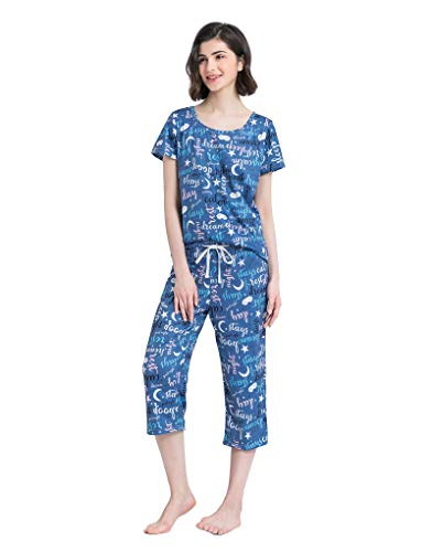 YIJIU Women's Short Sleeve Tops and Capri Pants Cute Cartoon Print Pajama Sets Blue