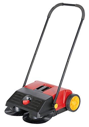 Vestil JAN-SM Manual Push Floor Sweeper with Steel Handle, 21-1/4'' Head Width, 24'' Overall Length, Black and Red by Vestil (Image #1)