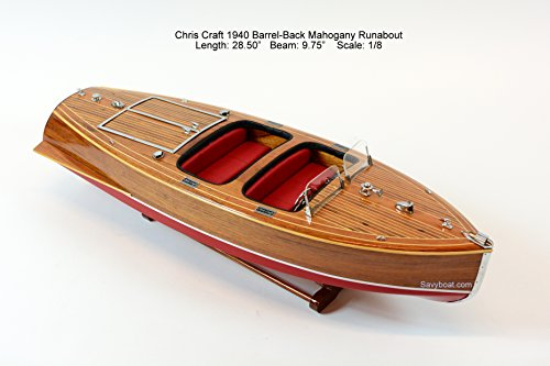 1940 Chris Craft Barrel Back Mahogany Runabout Wooden Classic Boat Model 28.5